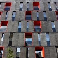 Rot und graue Fassadenelemente aus Eternit (?)
