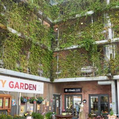 Die Gärtnerei im Erdgeschoss mit den bewachsenen Fassaden